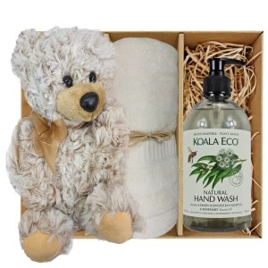 Theo Teddy Bear with Koala Eco Natural Hand Wash and Soft Cream Bamboo Hand Towel Gift Boxed by Gloves and Sanitisers – stock no. GBTheoHTHWSoftCream