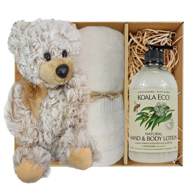 Theo Teddy Bear with Koala Eco Natural Hand & Body Lotion and Soft Cream Bamboo Hand Towel Gift Boxed by Gloves and Sanitisers - stock no. GBTheoHTLBodyCream