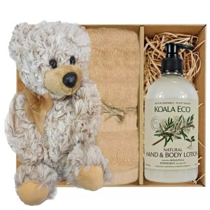 Theo Teddy Bear with Koala Eco Natural Hand & Body Lotion and Sandstone Bamboo Hand Towel Gift Boxed by Gloves and Sanitisers - stock no. GBTheoHTRBodySand