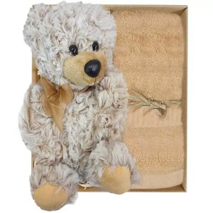 Teddy Bear with a soft sandstone coloured bamboo hand towel in a gift box - Stock No. GBTheoHTSandstone