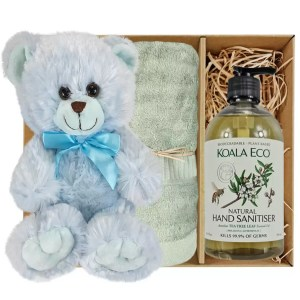 Baby Blue Teddy Bear with Koala Eco Natural Hand Sanitiser and Gum Green Bamboo Hand Towel Gift Boxed by Gloves and Sanitisers – stock no. GBBlueHTHSGumGreen