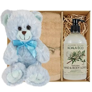 Baby Blue Teddy Bear with Koala Eco Natural Hand & Body Lotion and Sandstone Bamboo Hand Towel Gift Boxed by Gloves and Sanitisers - stock no. GBBlueHTRBodySand