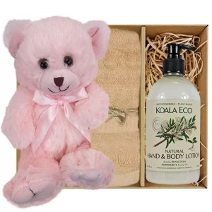 Baby Pink Teddy Bear with Koala Eco Natural Hand & Body Lotion and Sandstone Bamboo Hand Towel Gift Boxed by Gloves and Sanitisers