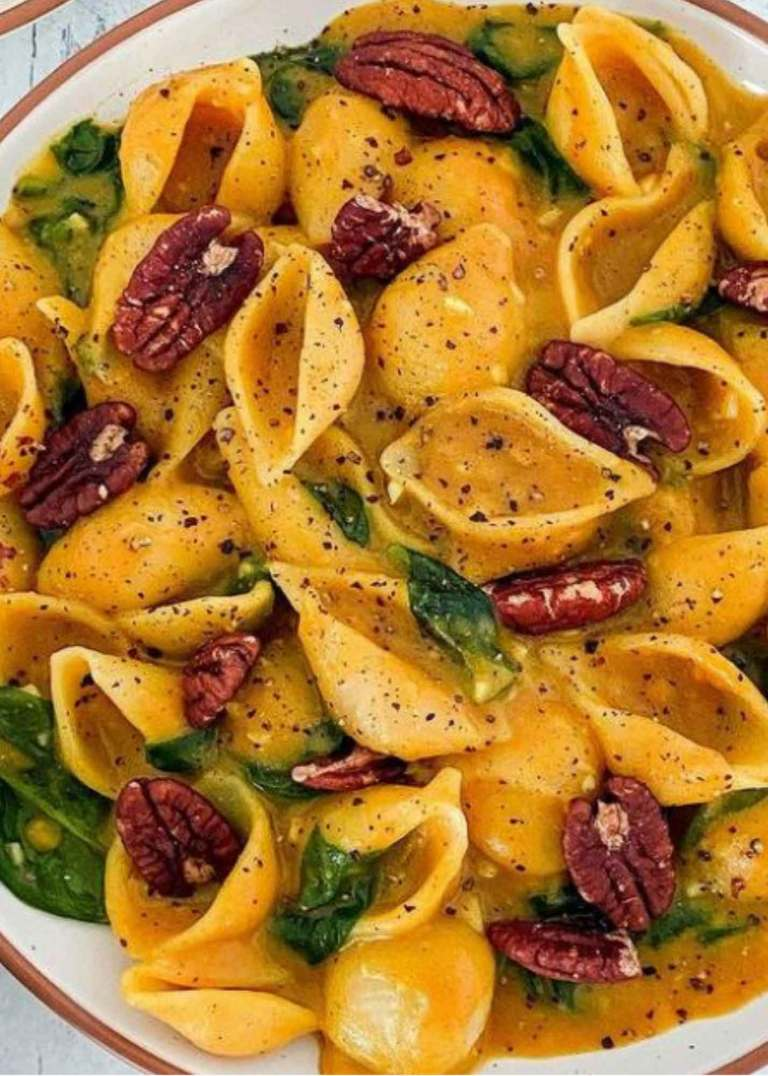Vegan Pumpkin, Turmeric and Spinach Pasta with Roasted Pecans