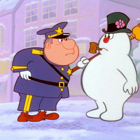 Frosty with policeman