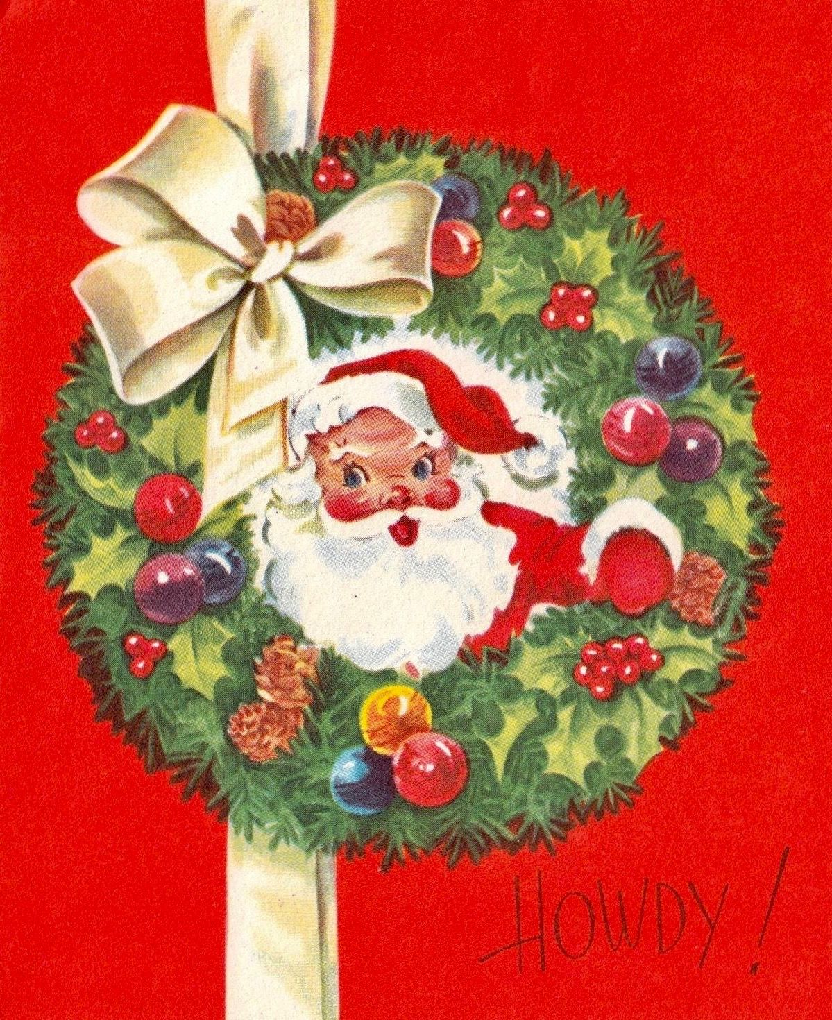vintage card with wreath