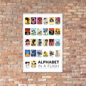 african american flash card poster framed white border flashcards abc flashcard hanging on brick wall picture