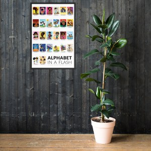 african american flash card poster framed black border flashcards abc flashcard hanging wall picture