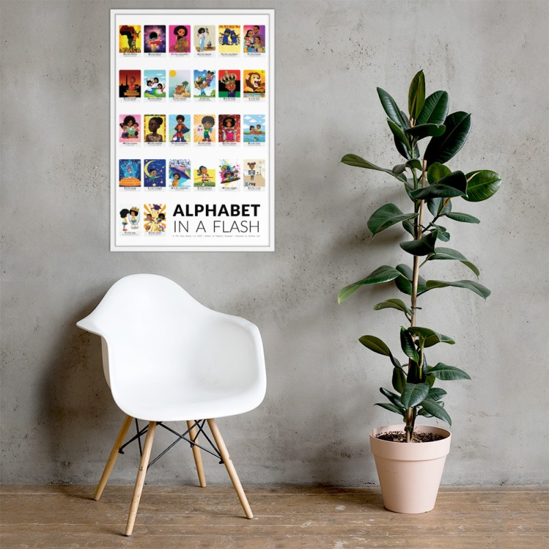 african american flash card poster framed white border flashcards abc flashcard hanging on wall picture