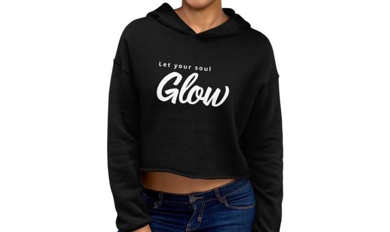 cropped glow hoodie model