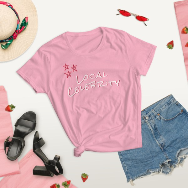 pink local summer lifestyle celebrity short sleeve women's cotton t-shirt classic fit tee