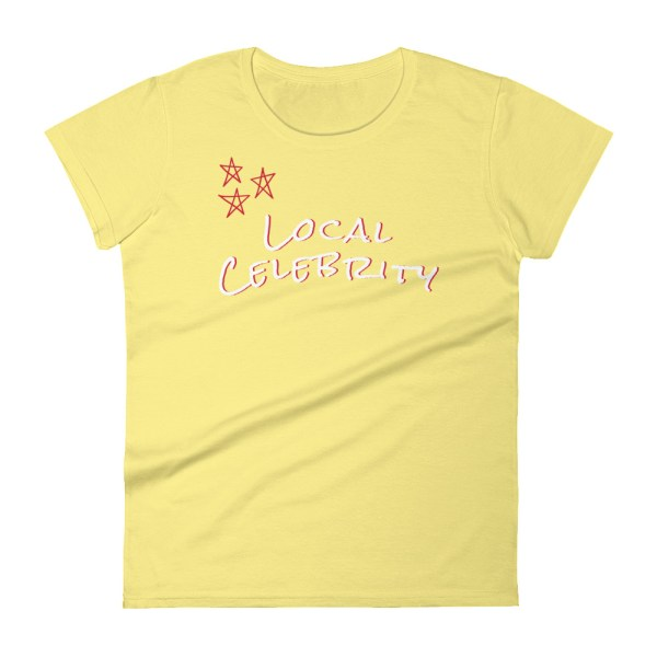 spring yellow flat lay local celebrity short sleeve women's cotton t-shirt classic fit tee