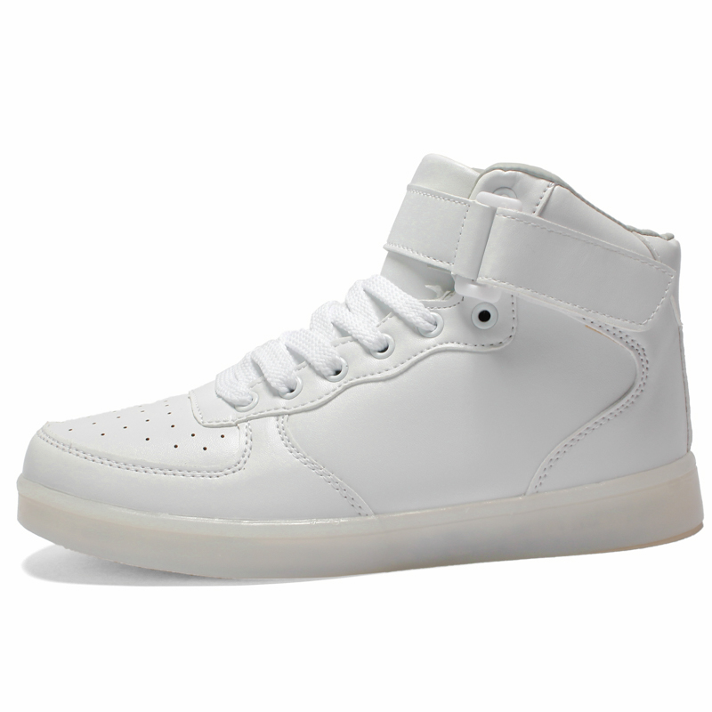 Astro White – High Top LED Shoes   Glow