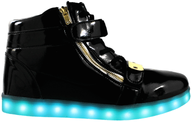 Gold Plated LED High Top Shoes with Blue LED Lights