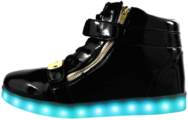 Black, gold plated LED Shoes with blue lights