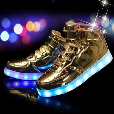 750 Gold High Top LED Glow Tog kicks