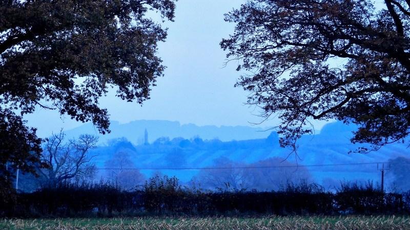 Misty November landscape