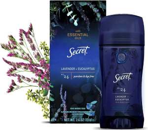 Secret Antiperspirant Deodorant for women with pure essential oils, paraben free, lavender and eucalyptus scent, best deodorant for women that sweat quickly