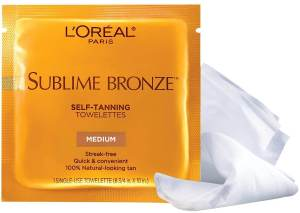 L'Oreal Paris Sublime Bronze Self-Tanning Towelettes, best streak-free self-tanner, best for natural looking Tan, a pack of 6 towelettes, one of the best over the counter sunless tanners