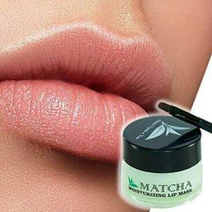 Moisturizing Green Tea Matcha Sleeping Lip Mask Balm, Younger Looking Lips Overnight, Best Lipstick for Chapped and Cracked Lips. Best anti aging lipstick. Marketed by Once Upon a Tea.