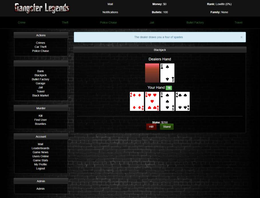 Gangster Legends ships with plenty of modules to build a mafia based game!