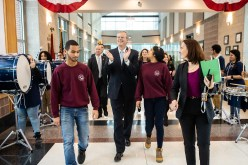 From left: Darwin Belliard, a senior studying machine technology at Greater Lawrence Tech; Gov. Charlie Baker; Celine Andujar, a senior studying machine technology at Greater Lawrence Tech; and GLTS Director of Grants, Community and Workforce Development Elizabeth Bennett. (Courtesy Photo Greater Lawrence Tech)