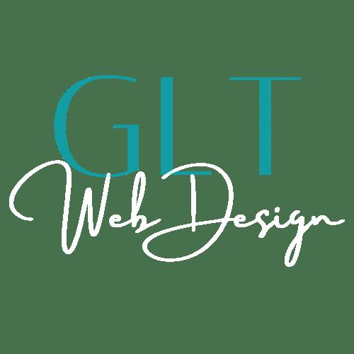GLT Web Design Logo with white text