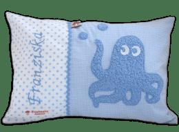 Hellblaues Namenskissen mit Krake und plüschigen Details