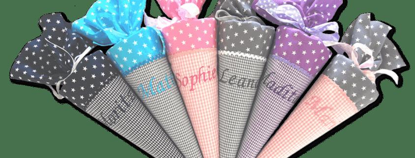 Hier gelangen Sie zu unserer handgenähten kleinen Schultüte Stars für die Geschwisterkinder