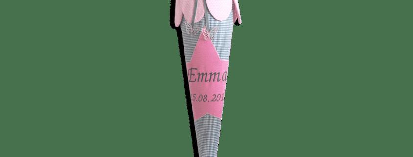 Schultüte Stern bestickt mit dem Namen und Einschulungsdatum des Kindes