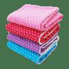 Flauschige Kinderdecken in rosa, rot, lila und hellblau mit Sternenmuster