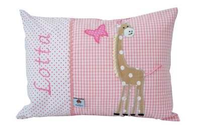 NAmenskissen mit Giraffe rosa