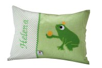Namenskissen mit Froschkönig in grün Komplettansicht