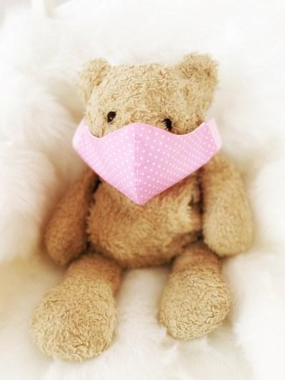 Kindermaske Premium rosa Punkte