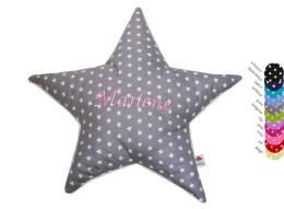 Sternenkissen grauer Sternenstoff mit gesticktem Namen