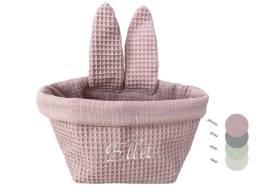 Unser handgenähtes Osterkörbchen mit Namen aus rosa Waffelpique