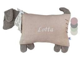 Schauen Sie Sich hier unser Kuscheltier Kissen Hund mit gesticktem Namen an
