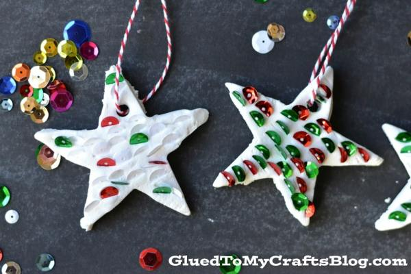 Air Dry Clay Sequined Ornaments {Kid Craft}