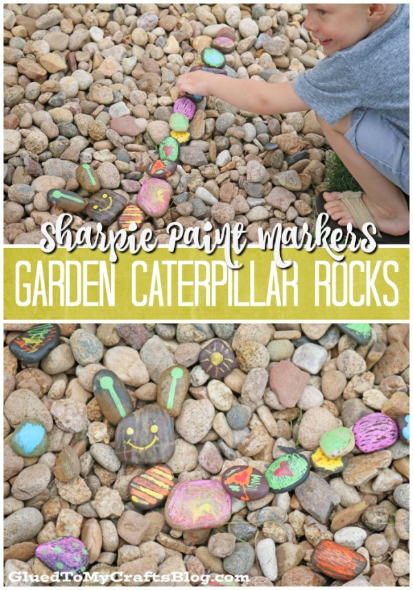 Sharpie Paint Markers Garden Caterpillar Rocks - Kid Craft