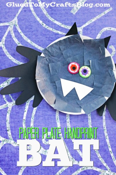 Paper Plate Handprint Bat - Kid Craft