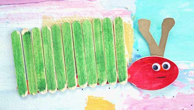Wooden Spoon and Craft Stick Caterpillar – Kid Craft