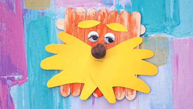 Popsicle Stick Lorax w/Handprint Beard – Kid Craft