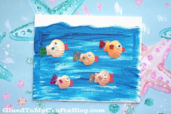 Seashell Fish Canvas - Kid Craft