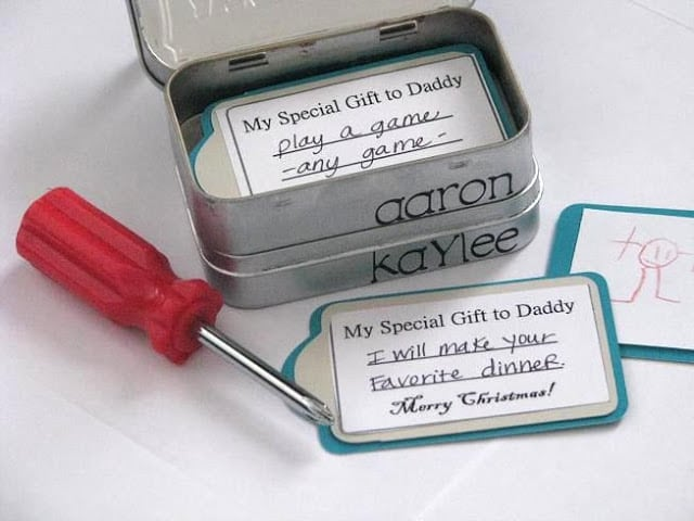 Make dad a mini tool box filled with coupons! A darling Father's Day gift from the kids! Altoid containers are fun to use for so many projects. 3 are stacked together to create this mini tool box.