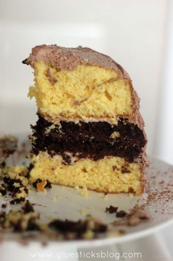 yellow chocolate cream cake