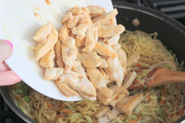 No need to order out when you have this easy Chicken Chow Mein recipe at your fingertips. Some restaurants call it Lo Mein. A great beginner Chinese recipe and with this secret you don't even have to cut up all the vegetables.
