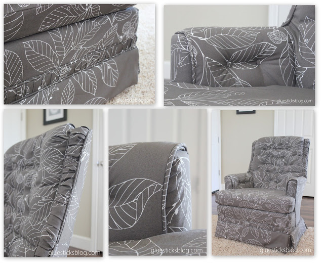 Breathe new life into an old chair and learn how to reupholster a swivel rocker with step by step photos and tips!