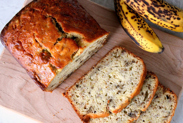 Don't let those over ripe bananas go to waste! This banana bread recipe rivals any from a local bakery. Soft, delicious, and sticky on the top just like the one at Bob Evan's. This recipe yields 2 loaves of delicious banana bread.