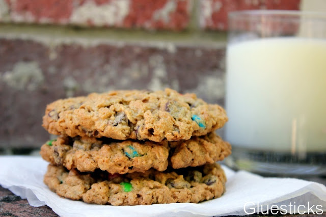 Jumbo monster cookies are chewy on the inside, crispy on the outside. Peanut butter, m&ms, oats, and chocolate chips. Absolutely perfect and made without flour!