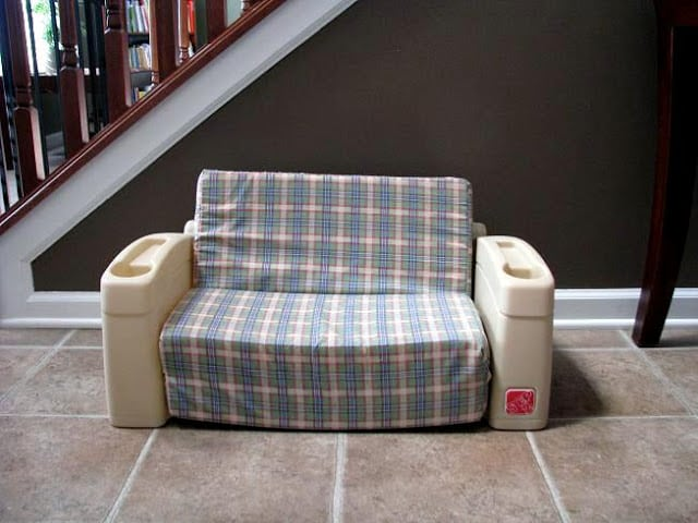 slip cover chair and a half armchair covers little sofa makeover - gluesticks